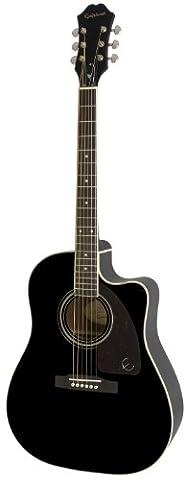 Epiphone AJ-220SCE Solid Top Cutaway Acoustic/Electric Guitar, Ebony Finish, Mahogany