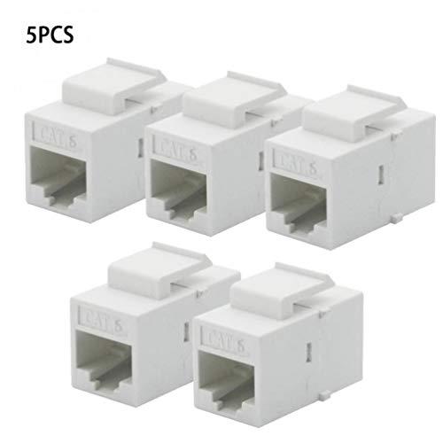 PiniceCore 5Pcs pro Satz CAT6 RJ45-Buchse, Buchse Kupplung Insert Snap-in-Anschluss-Buchse Adapter-Port für Wandplatten Outlet-Panel WHI - 5e Keystone-koppler