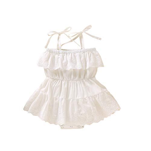 Livoral Madchen Kleider festlich Neugeborenes Baby ärmellos einfarbig Spitzenkleid Overall(Weiß,100)