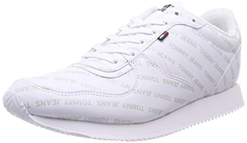 Hilfiger Denim Herren Tommy Jeans Print City Sneaker, Weiß (White 100), 44 EU City-sneaker