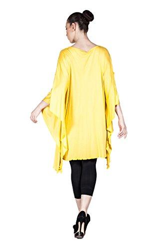 Weite Damen Tunika Casual, Designer Plus Size Mode auch in Übergröße - in verschiedenen Farben Gelb