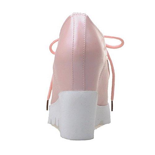 AgooLar Damen Spitz Zehe Hoher Absatz Weiches Material Rein Schnüren Pumps Schuhe Pink