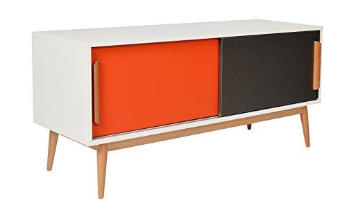 ts-ideen Sideboard Kommode Lowboard Ablage TV-Bank Weiss Orange Grau 120 x 55 cm