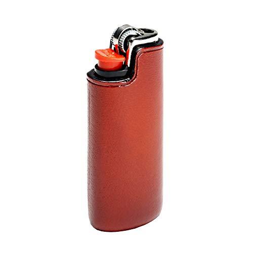 IL BUSSETTO Feuerzeug Ledertasche für Bic Mini Handgefertigt auf Holzform Handgemaltes Pflanzlich Gegerbtes Leder mit Unsichtbaren Nähten und Konstruktionslinien. (Coralred)