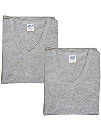 NAFT 2er Pack Herren Unterhemd V-Neck T-Shirt (4 Farben) , S-3XL (Grau, L)