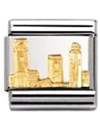 Nomination Composable Classic RELIEF MONUMENT Edelstahl und 18K-Gold (San Gimignano) 030123