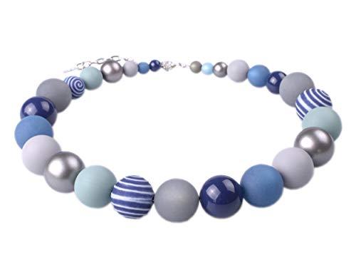 """Adi Modeschmuck Halskette """"Thabea"""", Elegante Materialmixkette aus Polaris- und verschiedenen Acrylperlen, Blau- und Grautöne mit Akzenten in dunklem Silber, handgefertigt in Berlin 3"""