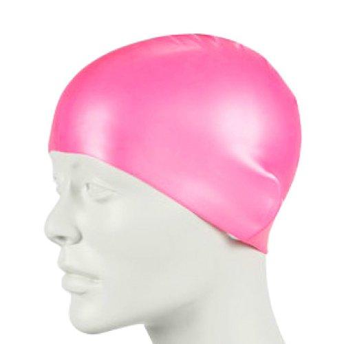 Erwachsene Badekappen Wasserdicht Sport Siwm Pool Schwimmen Schützen Ohren Latex Mütze Hut (Pink)