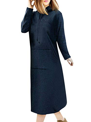 GOKOMO Damen Kapuzenpullover Lange Hoodie Kleid Sweatshirt Langarm Pullover(Navy Blue,XXX-Large)