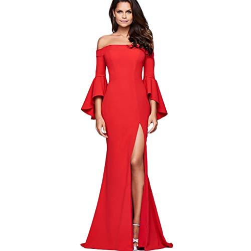 (IMJONO Kleid,2019 iHENGH JubiläumsfeierFrauen Damen Solide Bell Sleeve Wort Kragen Split Dress(X-Large,rot))