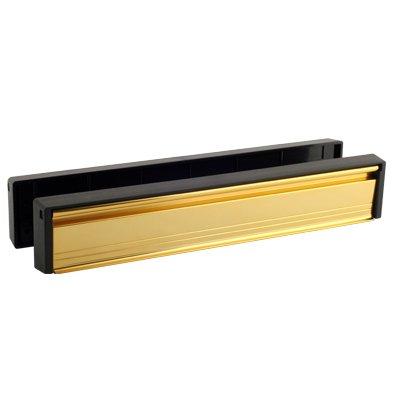 Gold 12'' Slimline Letterbox, Letter Plate for Timber or Upvc Door