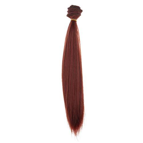 Puppe Rote Haare Kostüm - CUTICATE Hitzebeständiger Großer Gelockter Synthetischer Haar Einschlagfaden, Massenperücken, Gerades Haarteil Für Puppen Perücken des Handwerks DIY, Die Zusät - Weinrot