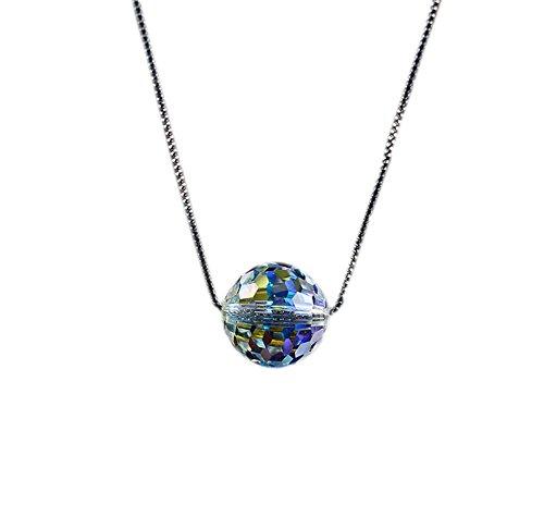 DELEY S925 Argent Sterling arc-en-ciel Nu Percer un Pendentif en Cristal de Collier de Collier 8mm Boule