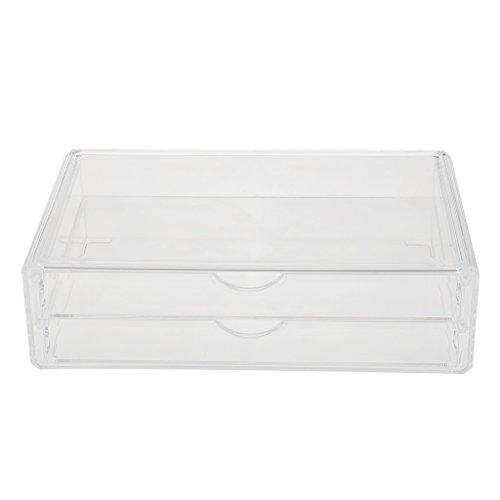 MagiDeal Boîte de Rangement Case Vitrine Organisateur en Acrylique Transparent à 2/3/4 Tiroir pour Maquillage Cosmétique - Clair 2 Tiroirs, 32,5 x 20 x 9,3cm
