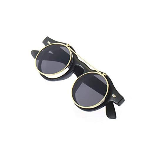 Hehilark Classic Steampunk Goth Schutzbrille, runde Sonnenbrille, rund