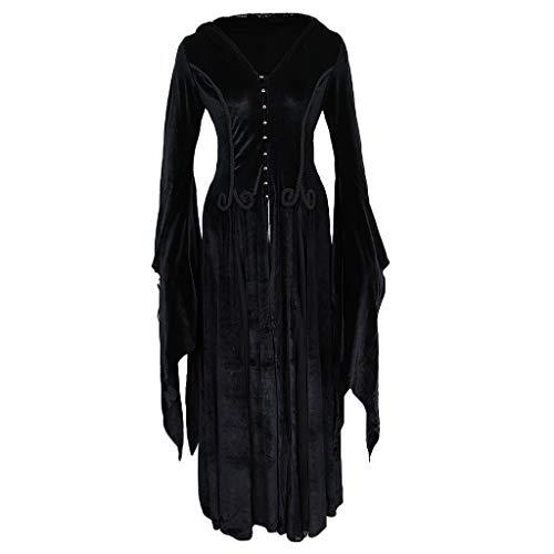 Holloween Kostüm Hexe - Baoblaze Frauen Mit Kapuze Langes Kleid Gothic Priestess Hexe Kleid Holloween Kostüme - XL-2XL