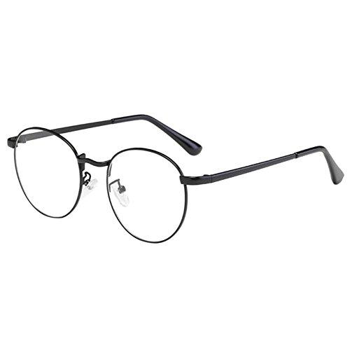 Zhuhaixmy Unisex Klassisch Metall Runden Felge Komfortabel Brille Kurzsichtig Kurzsichtigkeit Brillen Harz Löschen Linsen (Stärke -1.5, Schwarz) (Diese sind nicht Lesen Brille)