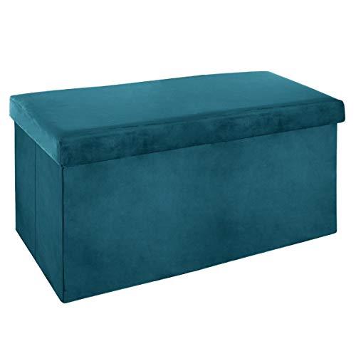 ATMOSPHERA – Sitzhocker, zusammenklappbar, doppelt, Velours, 76,6 x 38 cm, Petrolblau, blau (bleu...