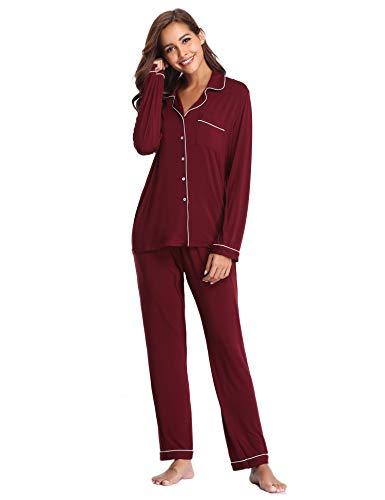 Lusofie Pyjama für Damen Langarm Schlafanzug mit Knopfleiste Nachtwäsche PJ Set (373 Weinrot, ()