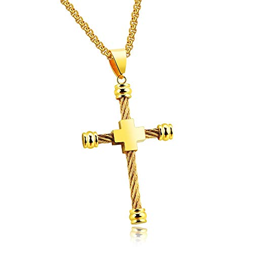 Burenqi collana e pendente con croce unica per uomo bracciale in acciaio con design a corda in acciaio inossidabile 55 colori, oro