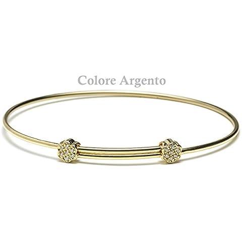 Passavinti Ciondoli Bracciali Gioielli Donna in Bronzo Argento Oro (Bracciale con Fiore - Argento)