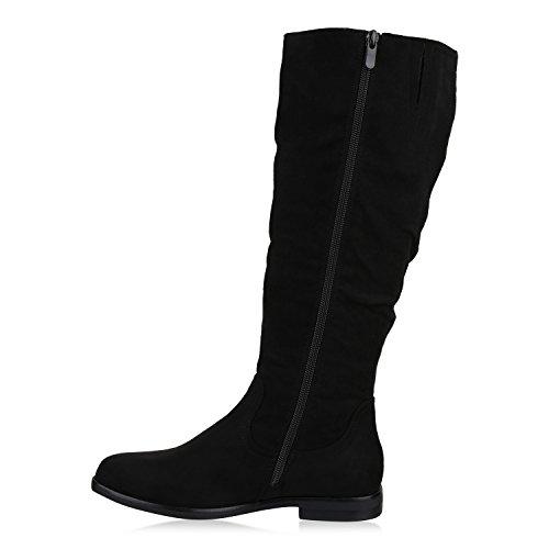 Stiefelparadies Klassische Gefütterte Stiefel Damen Schuhe Veloursleder-Optik Winterschuhe Schnallen Blockabsatz Winter Boots Flandell Schwarz Nieten
