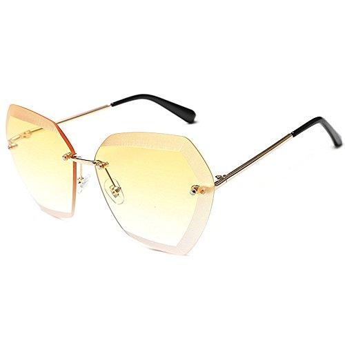 XHCP Frauen polarisierte Klassische Flieger-Sonnenbrille, große unregelmäßige Sonnenbrille für Frauen-Dame 's übergroße modische Sonnenbrille für das Fahren der randlosen UVschutz-Sonnenbrille-Pe