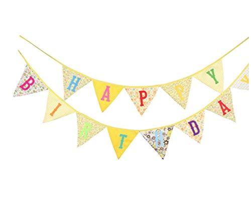 ZHANGQIAN Rosa Gelb-Grün 4 Farbe Happy Geburtstags Dreieck Hängende Fahne Foto Hintergrund Kindergeburtstag Tuch Fahne,Yellow