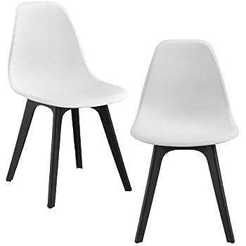 Details zu [en.casa] 4x Design Stühle Weiß Esszimmer Stuhl Kunststoff Skandinavisch Set