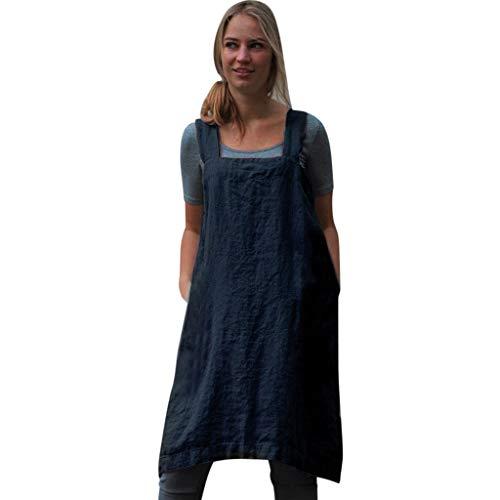 kolila Damen Schürze Baumwolle Leinen Kleid Comfort Lose Zuhause Einfarbig Breiter Sling Hintere Öffnung Pinafore Bluse Kleider