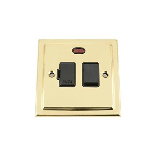 gesicherter Schalter mit Neon–Viktorianische Messing poliert–schwarz Einsatz aus Kunststoff Schalter–13Sicherung Sporn Schalter