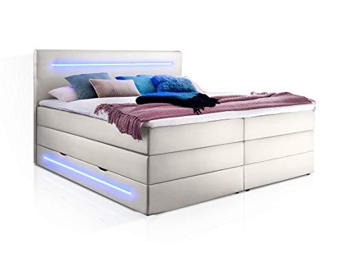 moebel-eins Lonni II Boxspringbett mit Bettkasten und integrierter LED-Beleuchtung, Material Kunstleder, 180 x 200 cm, Weiss, Härtegrad 2+3