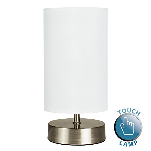 White bedside lamp amazon modern chrome touch dimmer bedside table lamp with white cylinder light shade aloadofball Image collections