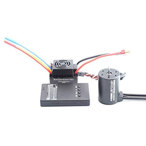 Manalada® 3650 3900KV RC Auto Brushless Wasserdicht Motor 60A ESC Programmer Kartensatz -