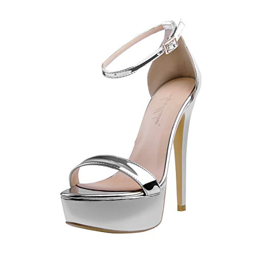 Onlymaker Plateau Sandaletten Damen Glitzer Metallic Sandalen Pumps Riemchensandalen Stiletto High Heels Silber 40 EU - Sexy Ankle Strap Platform Sandal