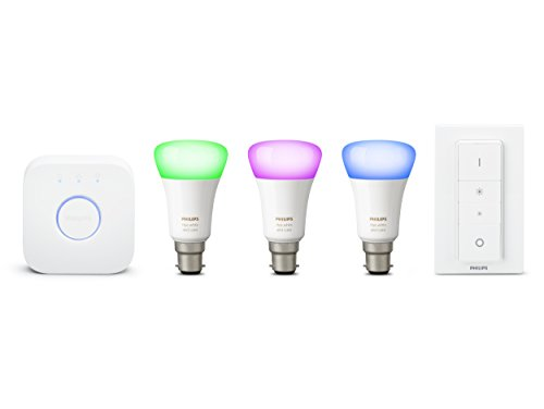 Philips Hue White and Colour Ambience Wireless Lighting B22 Bayonet Cap LED Starter Kit, 3 x 9.5 W B22 Hue Colour Bulbs, 1 x Hue Bridge 2.0, 1 x Dimmer Switch, Apple HomeKit Enabled, Works with Alexa