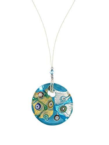 Venetiaurum - Collana con pendente in vetro originale di Murano e Argento 925 - Gioiello made in Italy certificato