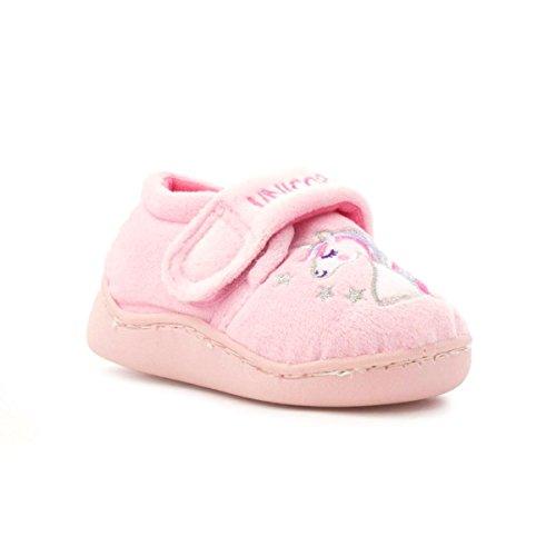 The Slipper Company Girls Pink Embroidered Unicorn Slipper - Size 10 Child UK - Pink
