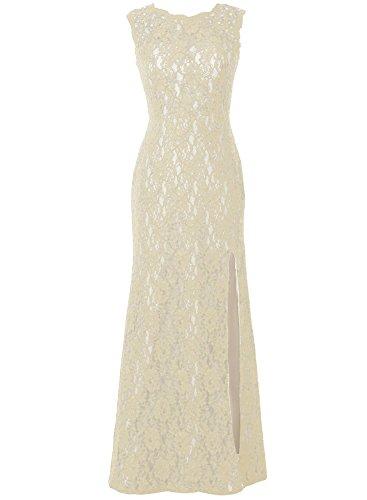 Bbonlinedress Robe de cérémonie Robe de mère de la mariée en dentelle longueur ras du sol Champagne