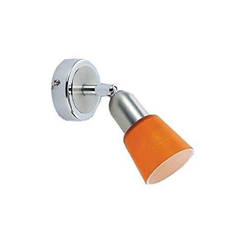 DeMarkt 504021601 Spot Mural Applique à Une Lampe Réglable Style Moderne en Métal couleur Chrome Globe en Verre Orange pour Chambre Salle de Bain 1x40W E14