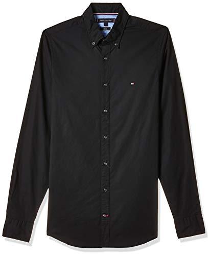Tommy Hilfiger Herren CORE STRETCH SLIM POPLIN SHIRT Freizeithemd, Schwarz (Flag Black 083), Small