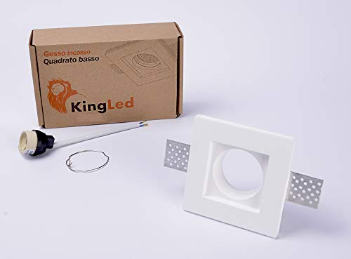 KingLed - Foco empotrable en yeso Ceramic Square Slim para Spotlight Gu10...