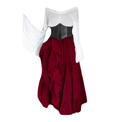 Lazzboy Frauen Renaissance Gothic Bodenlangen Cosplay Retro Langes Kleid Damen V-Ausschnitt Mittelalter Party Viktorianischen Kleider Prinzessin Bodenlänge Hochzeit Karneval Fasching(Wein,L)