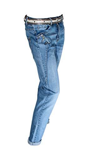 Karostar by Lexxury Damen Denim Stone Blue Jeans mit Strass Curvy Model Denim Stone 38 -