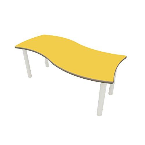 Mobeduc Kinder Wave, rechteckige Tisch, Holz, gelb, Größe 3, 120x 60x 59cm -