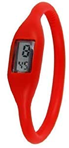 New Fashion Silicone Silicon Rubber Sports Jelly Wrist Watch Gift (red)