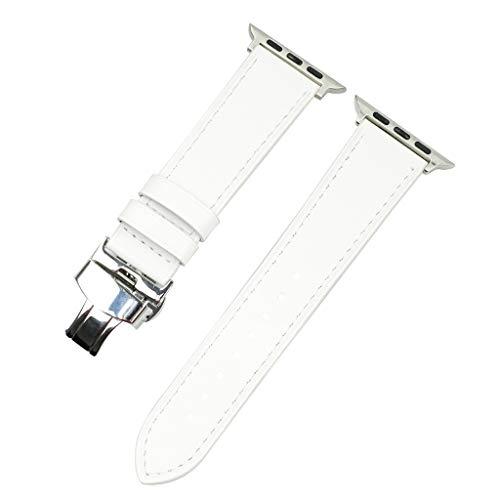 Kompatibel für Apple watch 40mm/38mm,Leder Uhrenarmband Armbänder Butterfly-Schnalle Metallarmband Wristband Armband für iwatch Series4 3 2 1,Prämie Leder in 7 Farben Smartwatch Ersatzarmbänder