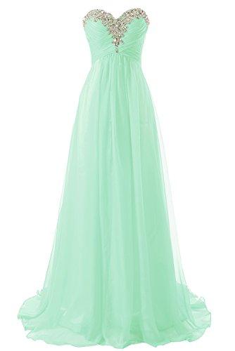 Abendkleider Ballkleider Lang Chiffon Brautjungfernkleid A Linie Damen Festkleid Minze EUR46