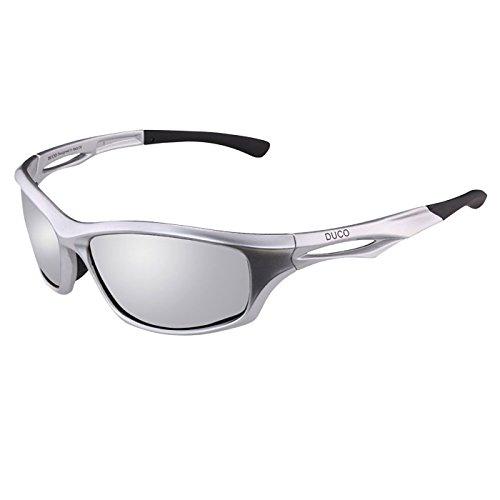 DUCO Polarisierte Sport-Sonnenbrille zum Laufen Radfahren Angeln Golf TR90 Unbreakable Rahmen 6199 (Silber)