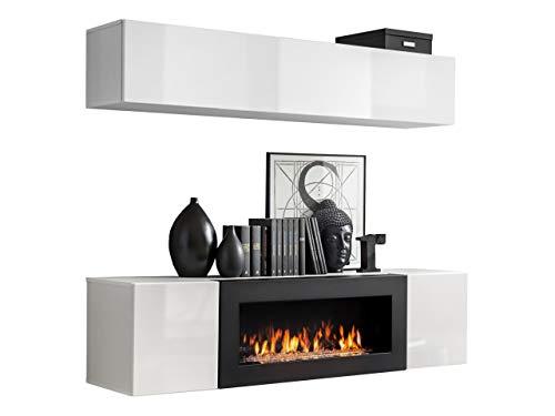 Moderne Wohnwand mit Kamin Bioethanol Flyer N1, Elegante Anbauwand mit Kamineinsatz, Schrankwand, Wohnzimmer-Set, TV-Lowboard, Vitrine (Weiß/Weiß Hochglanz) -